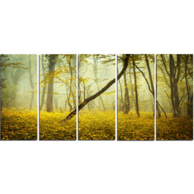 Forest With Yellow Flowers Landscape Photography Canvas Print - 5 Panels