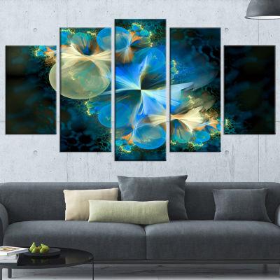 Designart Fractal 3D Blue Bubbles Contemporary Canvas Art Print - 5 Panels