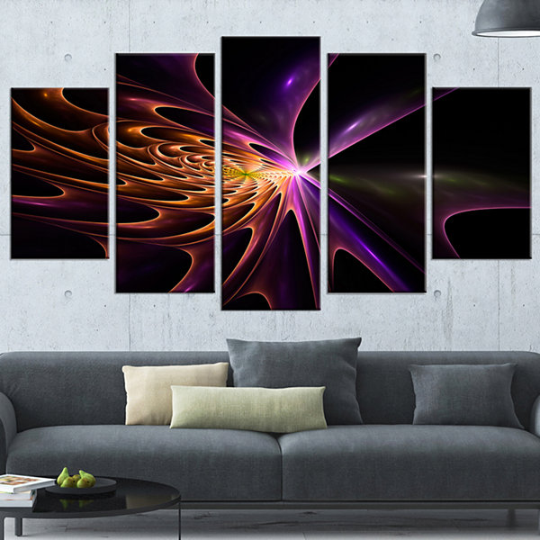 Fractal 3D Colored Bulgy Circles Abstract Canvas Art Print - 5 Panels