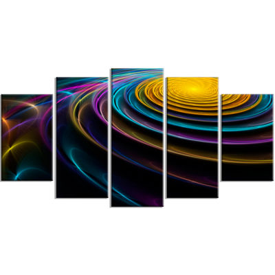 Designart Fractal 3D Colored Bulgy Circles Contemporary Wrapped Canvas Art Print - 5 Panels