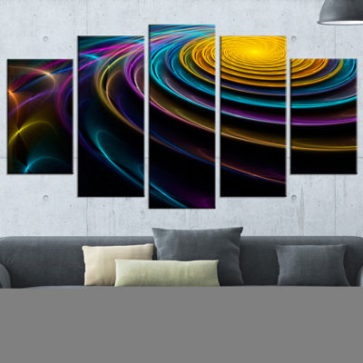 Designart Fractal 3D Colored Bulgy Circles Contemporary Canvas Art Print - 5 Panels