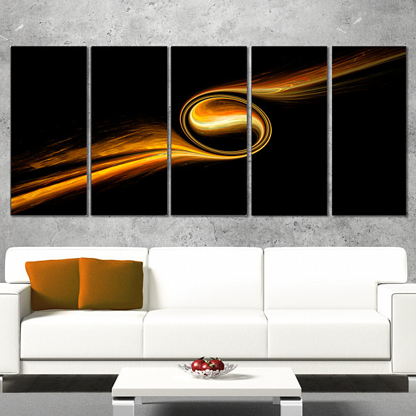 Designart Fractal 3D Dancing Yellow Design Abstract Canvas Art Print - 5 Panels