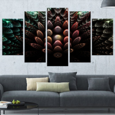 Designart Fractal 3D Flower Fantasy Abstract Canvas Art Print - 4 Panels