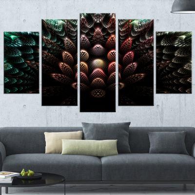 Designart Fractal 3D Flower Fantasy Contemporary Canvas ArtPrint - 5 Panels