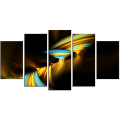 Designart Fractal 3D Layers Yellow Blue Contemporary CanvasArt Print - 5 Panels