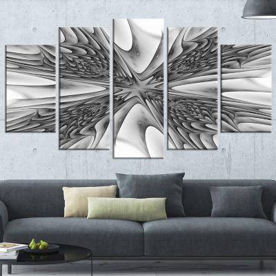 Designart Fractal 3D Magical Depth Contemporary Canvas Art Print - 5 Panels