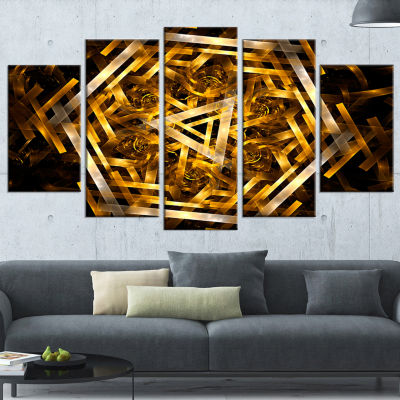 Designart Fractal 3D Yellowish Hexagon Abstract Canvas Art Print - 4 Panels