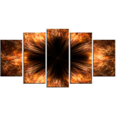 Designart Fractal Black Brown Flower Floral CanvasArt Print- 4 Panels