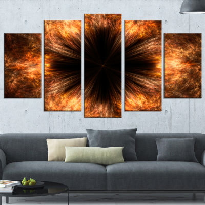 Designart Fractal Black Brown Flower Floral CanvasArt Print- 5 Panels