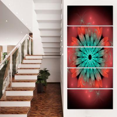 Designart Fractal Blooming Blue Red Flower FloralArt CanvasPrint - 5 Panels