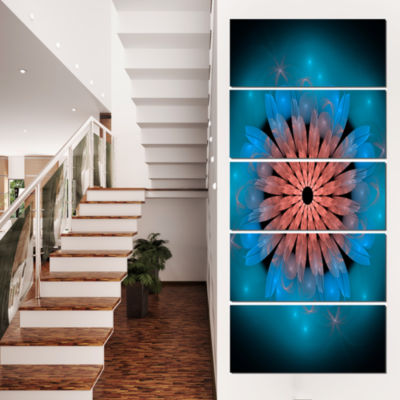 Fractal Blooming Turquoise Flower Floral Art Canvas Print - 4 Panels