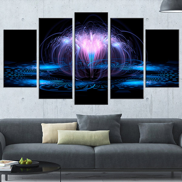 Designart Fractal Blue Flowing Flower Large FloralArt Canvas Print - 5 Panels