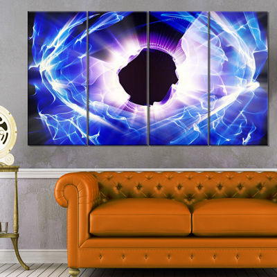 Designart Fractal Blue Light Shine Abstract CanvasArt Print- 4 Panels