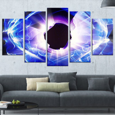 Designart Fractal Blue Light Shine Abstract CanvasArt Print- 5 Panels