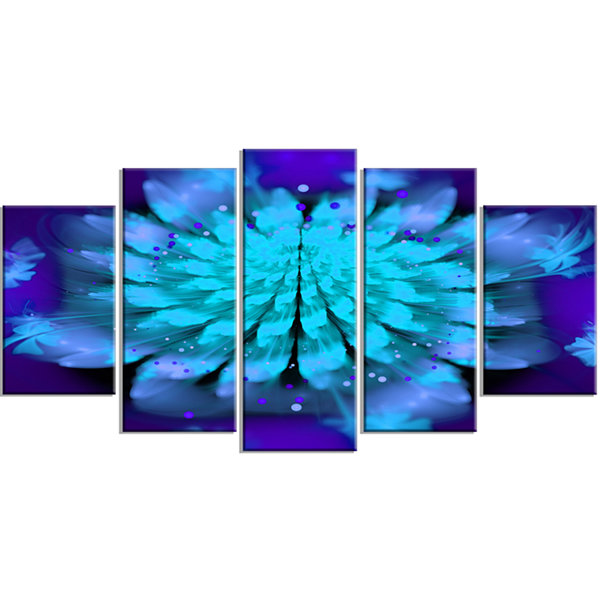 Designart Fractal Blue Spread Out Flower Floral Art Canvas Print - 5 Panels