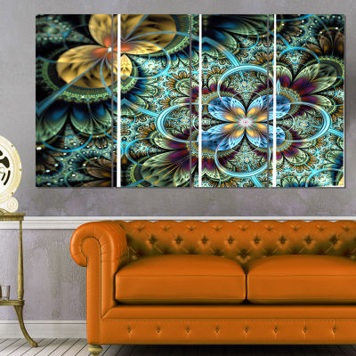 Designart Fractal Dark Orange Blue Flowers FloralArt CanvasPrint - 4 Panels