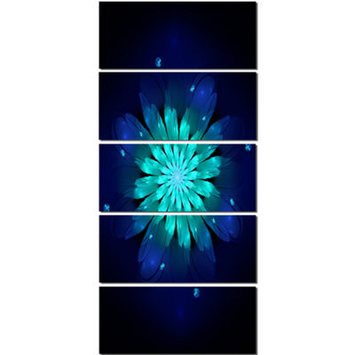 Designart Fractal Flower Blue N Turquoise Floral Art CanvasPrint - 5 Panels