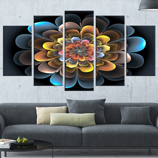 Designart Fractal Flower Macro Close Up Floral ArtCanvas Print - 4 Panels