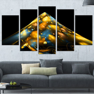 Designart Fractal Golden Blue Structure Contemporary CanvasArt Print - 5 Panels