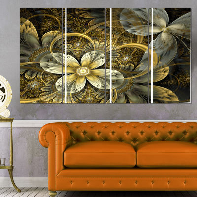 Designart Fractal Orange Yellow Flowers Floral ArtCanvas Print - 4 Panels