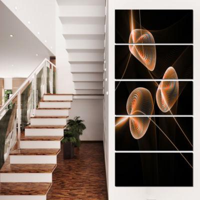 Designart Fractal Pink Orchids Floral Canvas Art Print - 5 Panels
