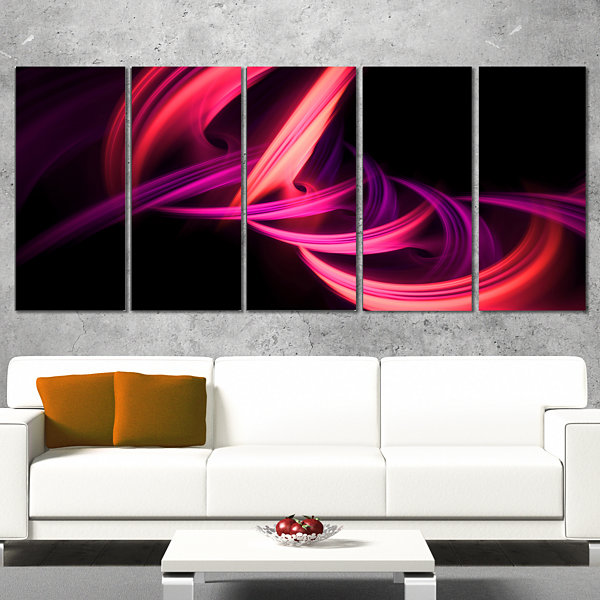 Designart Fractal Purple Connected Stripes Abstract Canvas Art Print - 5 Panels