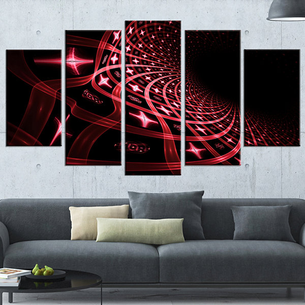 Designart Fractal Purple Dense Stripes Contemporary Canvas Art Print - 5 Panels