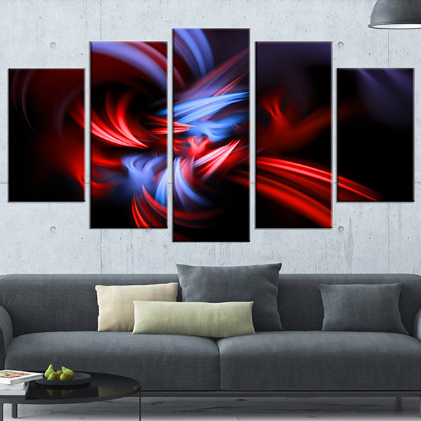 Designart Fractal Red Connected Stripes Abstract Canvas ArtPrint - 4 Panels