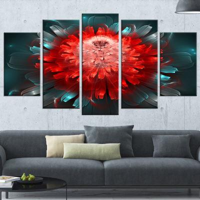 Designart Fractal Red N Blue Flower Floral Art Canvas Print- 5 Panels