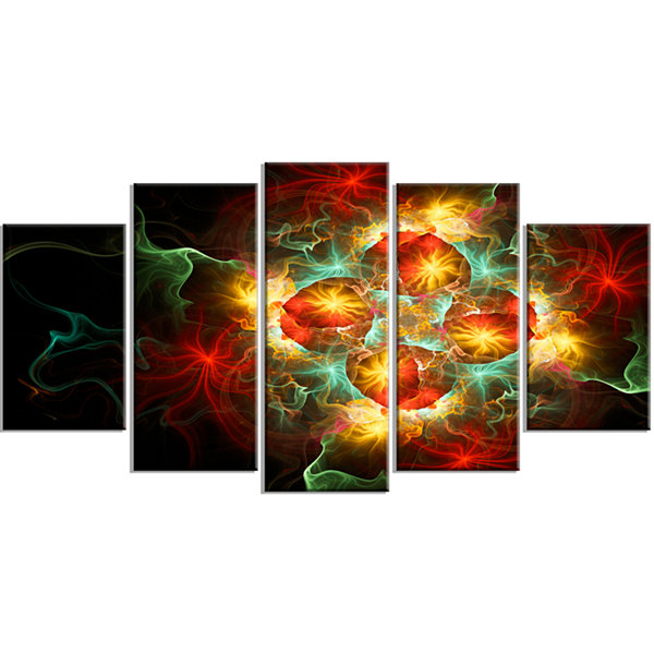 Designart Fractal Yellow N Red Flower Floral Art Canvas Print - 4 Panels