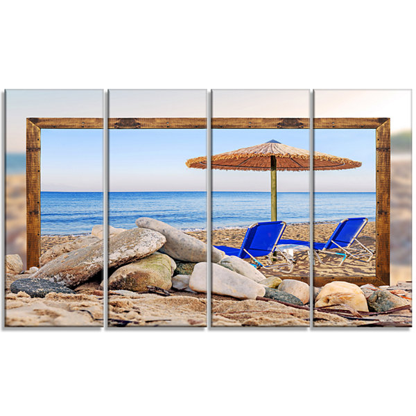 Designart Framed Effect Beach With Chairs UmbrellaSeashorePhoto Canvas Art Print - 4 Panels