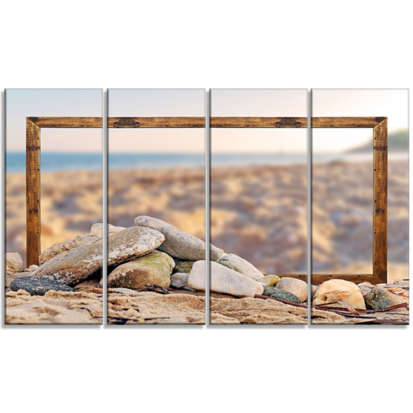 Framed Effect Blurred Seashore Landscape Canvas Art Print - 4 Panels