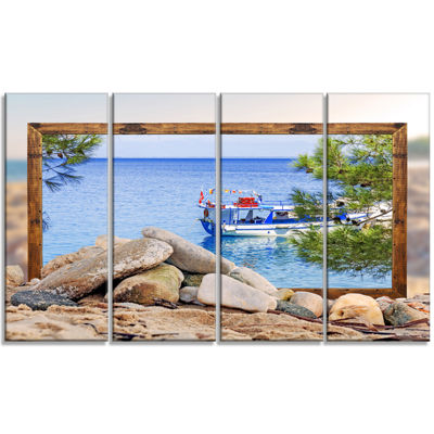 Designart Framed Effect Boat In Ocean Seashore Canvas Art Print - 4 Panels