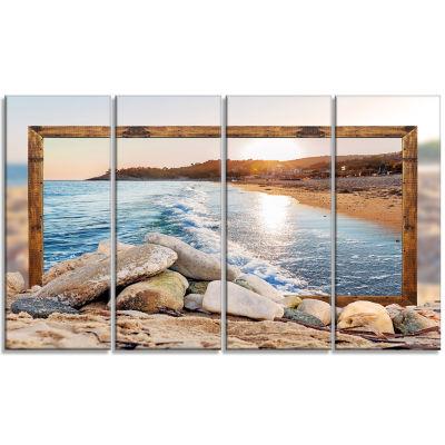 Designart Framed Effect Rocky Beach Seashore Canvas Art Print - 4 Panels