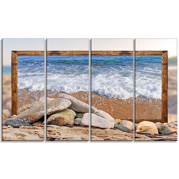 Designart Framed Effect Waves And Rocks Seashore Canvas ArtPrint - 4 Panels