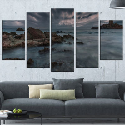 Designart French Riviera Coastline Landscape Photography Wrapped Canvas Art Print - 5 Panels