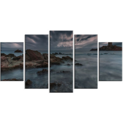 French Riviera Coastline Landscape Photography Canvas Art Print - 5 Panels