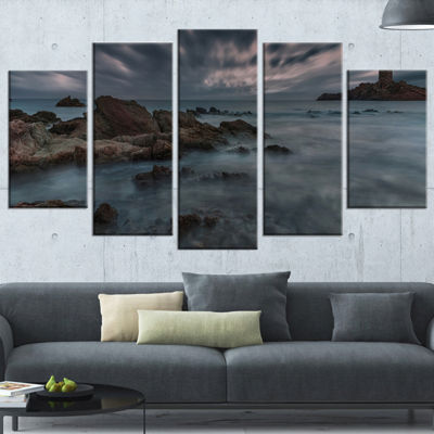 Designart French Riviera Coastline Landscape Photography Canvas Art Print - 5 Panels