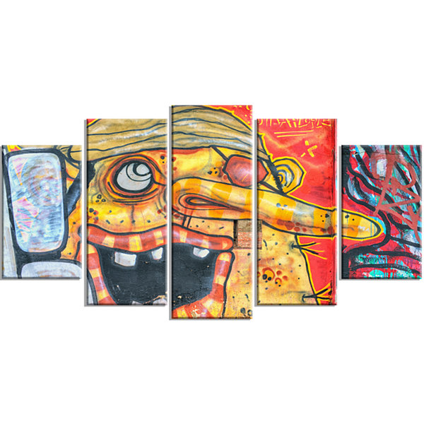 Designart Funny Street Art Graffiti Wrapped CanvasArt Print- 5 Panels