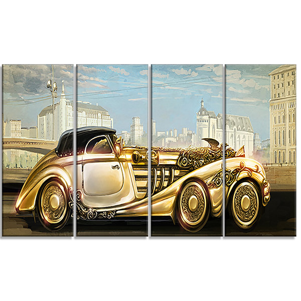 Designart Futuristic Gold Machine Abstract CanvasArt Print- 4 Panels