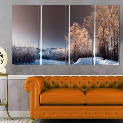Designart Futuristic Winter Sky Landscape Photography CanvasPrint - 4 Panels