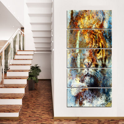 Designart Gentle Tiger Portrait Animal Canvas ArtPrint - 4Panels