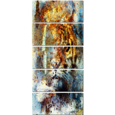 Gentle Tiger Portrait Animal Canvas Art Print - 5Panels