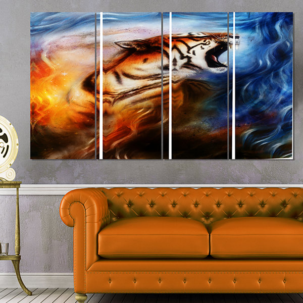 Designart Gentle Tiger Portrait Collage Animal Canvas Art Print - 4 Panels