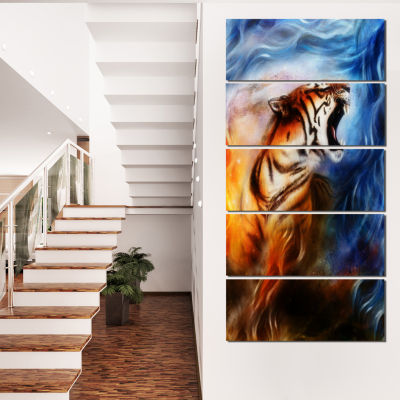 Gentle Tiger Portrait Collage Animal Canvas Art Print - 5 Panels