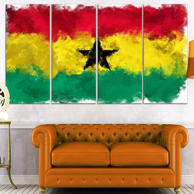 Designart Ghana Flag Illustration Flag Painting Canvas Print- 4 Panels