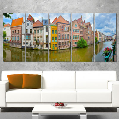 Designart Ghent Belgium Landscape Photography Canvas Art Print - 5 Panels