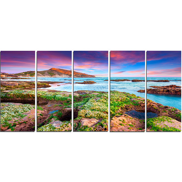 Designart Giallonardo Beach Spring Sunset SeashorePhoto Canvas Print - 5 Panels