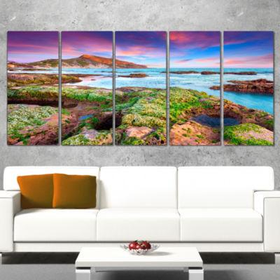 Giallonardo Beach Spring Sunset Seashore Photo Canvas Print - 5 Panels