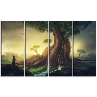 Designart Giant Tree With Woman Abstract Print OnCanvas - 4Panels